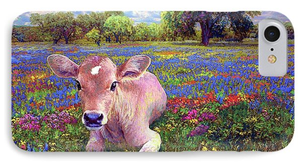 England iPhone 8 Case - Contented Cow In Colorful Meadow by Jane Small