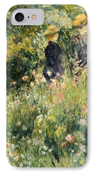 Garden iPhone 8 Case - Conversation In A Rose Garden by Pierre Auguste Renoir