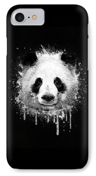 Cool Abstract Graffiti Watercolor Panda Portrait In Black And White  IPhone Case