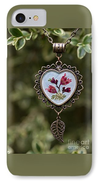Coral Bell Pressed Flower Pendant IPhone Case