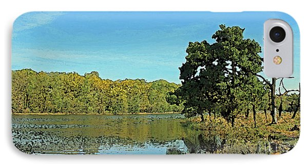 Countryside Netherlands, Lakes, Meadows, Trees, Digital Art. IPhone Case