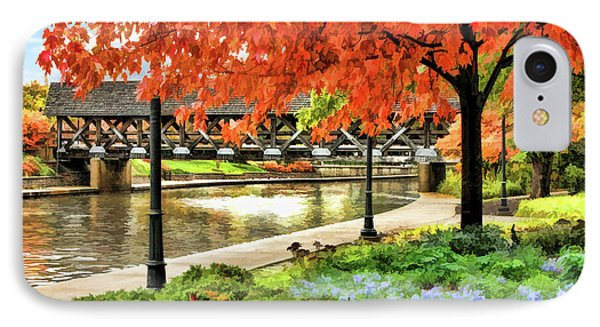 IPhone Case featuring the painting Covered Bridge Along Riverwalk by Christopher Arndt