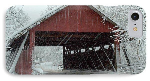 Covered Bridge In Snow IPhone Case