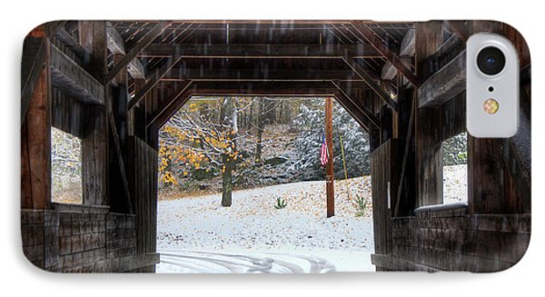 IPhone Case featuring the photograph Covered Bridge In Snow - Warren Vt by Joann Vitali