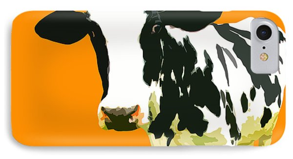 Cow iPhone 8 Case - Cow In Orange World by Peter Oconor