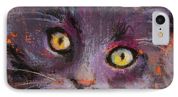Crazy Cat Black Kitty IPhone Case