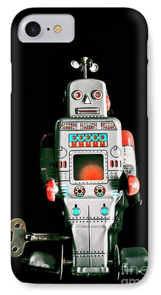 Cute 1970s Robot On Black Background IPhone Case