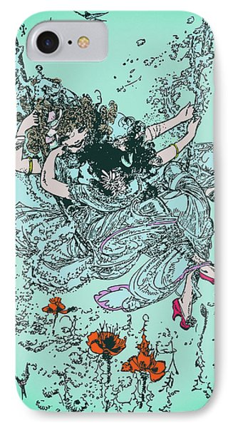 Cute Girl On The Swing In The Sky - Vintage Drawing IPhone Case
