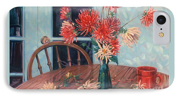 Dahlias With Red Cup IPhone Case