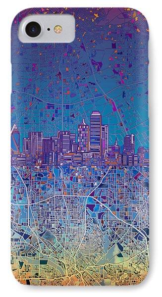 Dallas Skyline Map Blue 4 IPhone Case