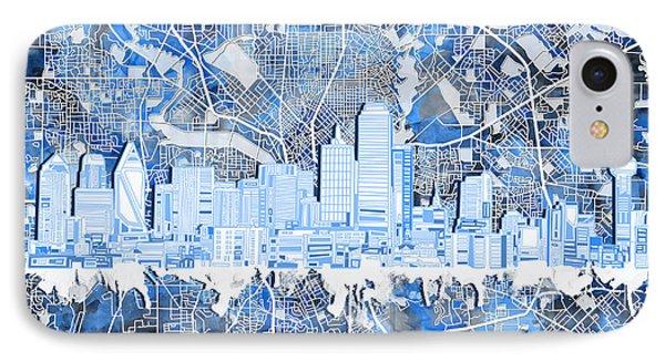 Dallas Skyline Map Blue 5 IPhone Case