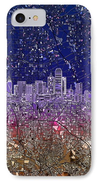 Dallas Skyline Map Purple 2 IPhone Case