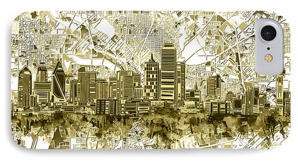 Dallas Skyline Map Sepia 2 IPhone Case