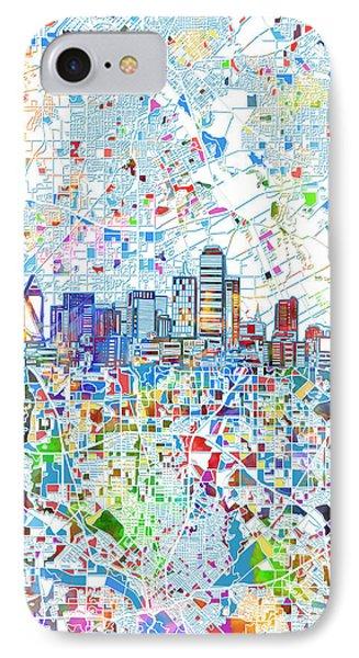 Dallas Skyline Map White 2 IPhone Case
