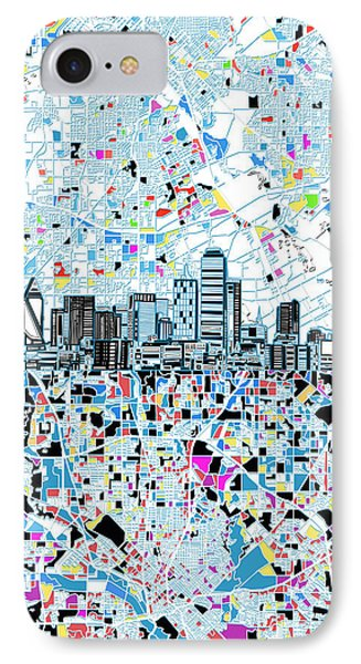 Dallas Skyline Map White IPhone Case