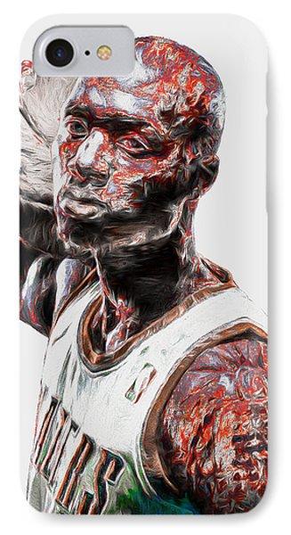 Damian Lillard Portland Trailblazers Digital Painting 25 IPhone Case
