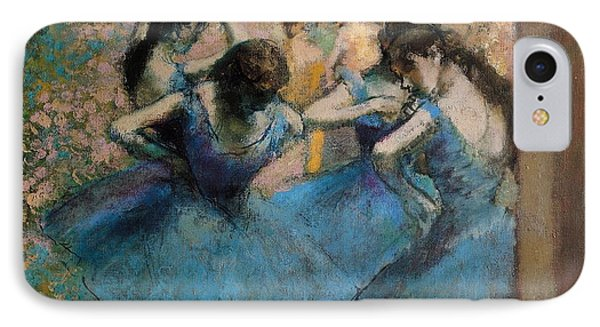 Impressionism iPhone 8 Case - Dancers In Blue by Edgar Degas