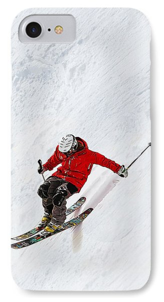 Daring Skier Flying Down A Steep Slope IPhone Case