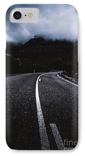 Dark Dramatic Blue Road Through Sinister Mountains IPhone Case