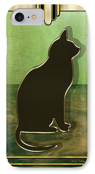 IPhone Case featuring the digital art Deco Cat 1 by Chuck Staley