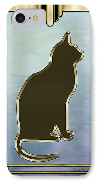 IPhone Case featuring the digital art Deco Cat 2 by Chuck Staley