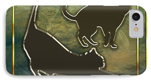IPhone Case featuring the digital art Deco Cat Stretching by Chuck Staley
