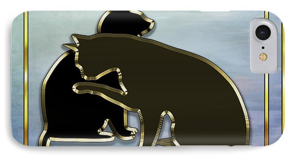 IPhone Case featuring the digital art Deco Cats - Blue by Chuck Staley