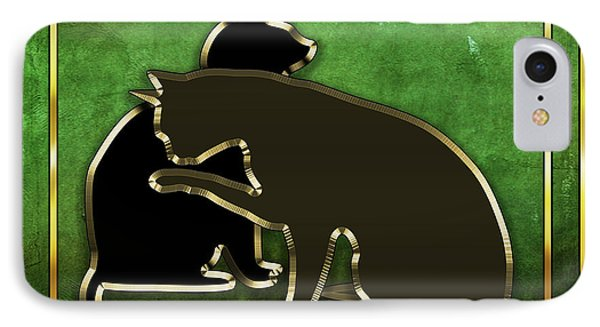 IPhone Case featuring the digital art Deco Cats - Emerald by Chuck Staley