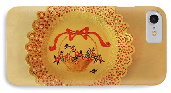 Decorated Plate With A Basket And Flowers IPhone Case