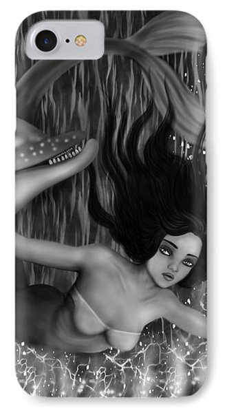 Deep Sea Mermaid - Black And White Fantasy Art IPhone Case