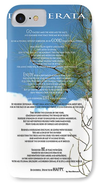 Desiderata Poem Over Sky With Clouds And Tree Branches IPhone Case