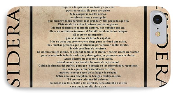 Desiderata - Spanish- Poema Escrito Por Max Ehrmann IPhone Case