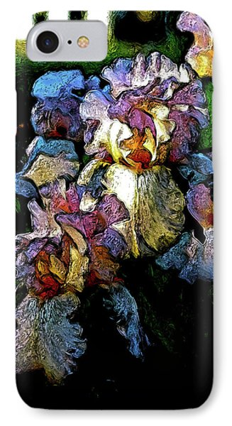 Digital Expressionist Painting Pale Pink Irises 6702 W_4 IPhone Case