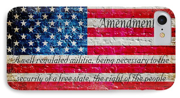 Distressed American Flag And Second Amendment On White Bricks Wall IPhone Case
