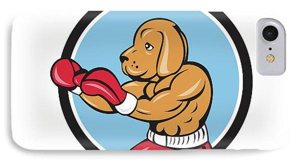 Dog Boxer Fighting Stance Circle Cartoon IPhone Case