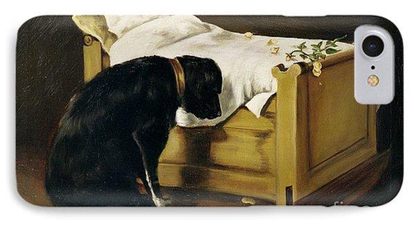 Dog Mourning Its Little Master IPhone Case