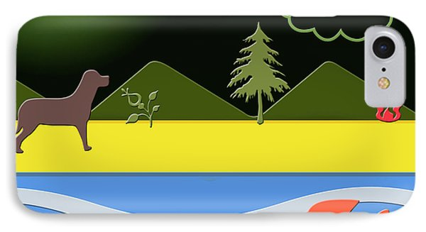 IPhone Case featuring the digital art Dog On Beach by Chuck Staley