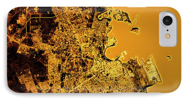 Doha Abstract City Map Golden IPhone Case