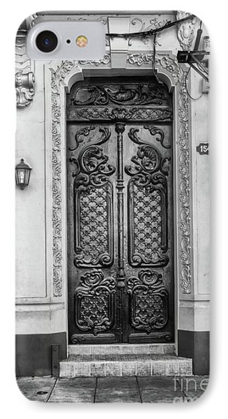 Doors Of Cuba Yellow Door Bw IPhone Case