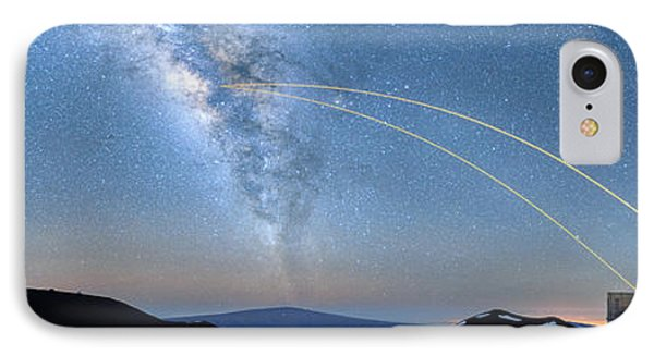 Double Lasers With The Milky Way Panorama IPhone Case