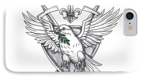 Dove Olive Leaf Sword Crest Tattoo IPhone Case