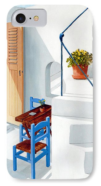 Downstairs In Santorini - Prints Of Original Oil Painting IPhone Case