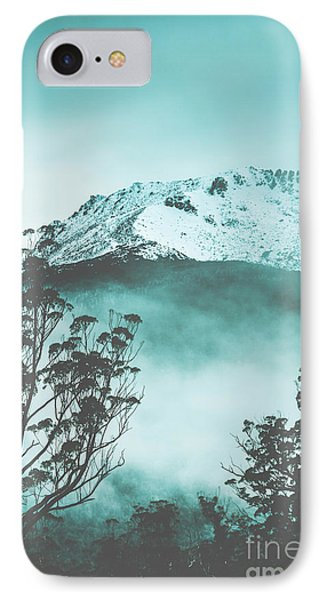 Dramatic Dark Blue Mountain With Snow And Fog IPhone Case
