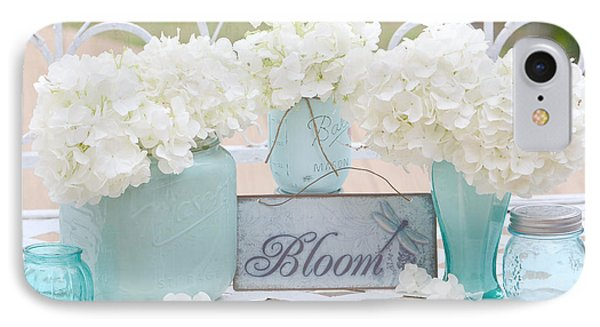 Dreamy White Hydrangeas - Shabby Chic White Hydrangeas In Aqua Blue Teal Mason Ball Jars IPhone Case