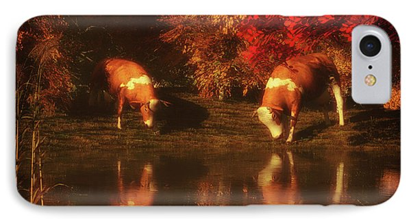 Drinking Cows In The Forest IPhone Case