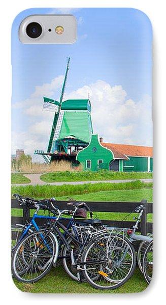 dutch windmills with bikes in Zaanse Schans IPhone Case