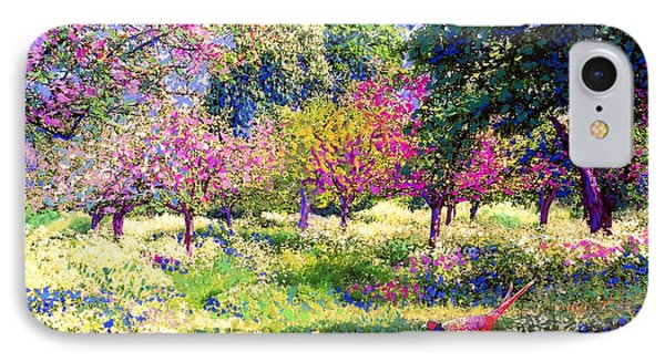 England iPhone 8 Case - Echoes From Heaven, Spring Orchard Blossom And Pheasant by Jane Small