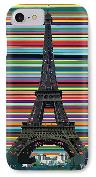 IPhone Case featuring the painting Eiffel Tower With Lines by Carla Bank