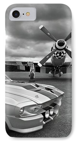 Airplane iPhone 8 Case - Eleanor Mustang With P51 Black And White by Gill Billington