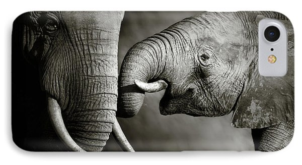 White iPhone 8 Case - Elephant Affection by Johan Swanepoel